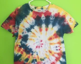 Adult Medium Tie Dye T-Shirt--Handmade--Tie Dye Swirl--Red, Blue, Yellow/Orange--Cotton