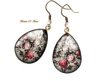 Drop earrings * Bouquet of roses * cabochon bronze pendant