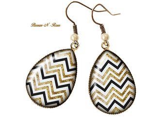 Earrings retro Zigzag drops bronze cabochon stripes beige black
