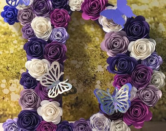 Hand rolled flower letters