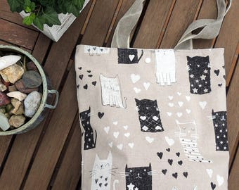 handmade tote bag, bag fabric cotton canvas beige with cats