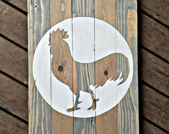 Handcrafted farmhouse rooster wood sign