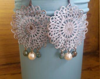 Hand painted filigree earrings