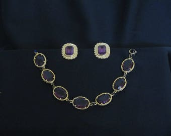 Vintage 1960s 1970s Richelieu Amethyst Colored Glass Crystal Bracelet and Clip On Earrings Set, Gold Tone Finish, Costume Jewelry Set