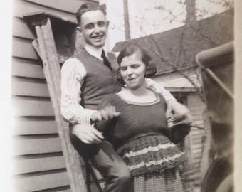 Love on a Ladder Black and White Photograph Couples Engagement Photo Vintage 1930s Paper Altered Art Supply Ephemera Snapshot Old Photo #30