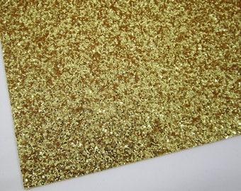 Golden Sunset Extra Chunky Glitter 8X11 Fabric Sheet on Soft Light Yellow Woven Material