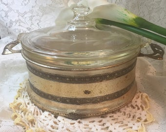 Vintage Pyrex Casserole Dish with Engraved Stand