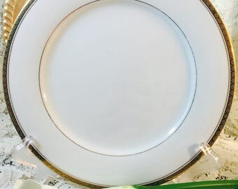 Noritake China Dinner Plate Richmond #6124 - White and Gold - Vintage