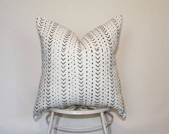 African Mud Cloth Pillow Cover, Mopti