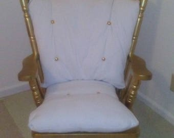 Antique Rocking Chair Refurbished Gold Throne Makeover