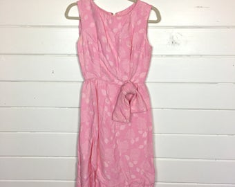 Vintage 1960s Cotton Candy Pink Party Dress / Wiggle Dress / Bow Front