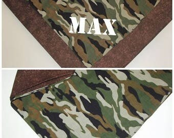 Personalize with name! Green brown camo reversible over the collar or tie on pet Dog Bandana. XS S M L XL