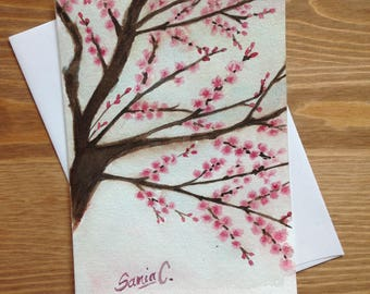 Handmade card wishes / / cherry blossoms / / local Art