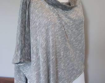 JP Cape in black and white knit