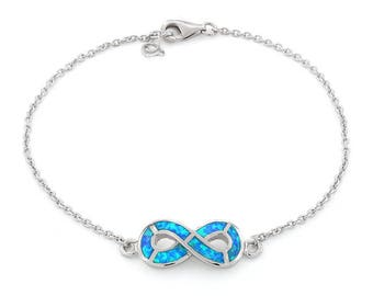 Sterling Silver Infinity Bracelet with Lab Opal 7 inches with 1 inch adjustable