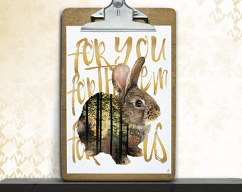 Hare, save the Littles, art print, posters, fine art print, art print, poster art, animals, wilderness, forest, typo