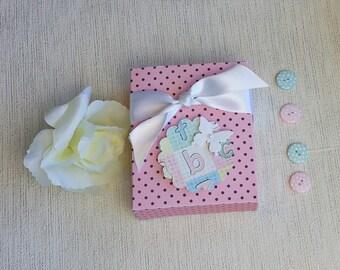 Pink baby bib box, baby girl gift box, baby gift wrap, Christening gift box, baby shower gift box, new baby gift box, baby bootie gift box