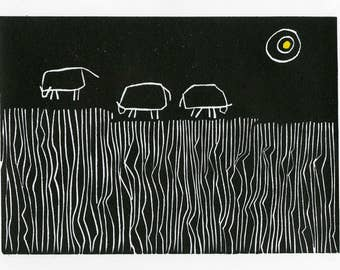 Cows Grazing Linocut: Dining Out - linocut, grazing cows, black and white, yellow sun, relief print, hand printed, limited edition