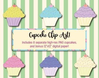 Cupcake Clip Art - Cupcake Clipart - Pastel Cupcake Clipart - Bakery Clip Art - Birthday Clip Art - Cupcake Decor - Birthday PNG