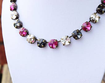 10mm Swarovski Crystal Bracelet - Fuschia, Silver Night, Graphite, Crystal