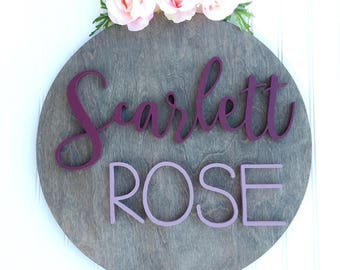 "18"" Round Custom Wood Sign, Name Sign, Nursery Decor, Personalized Name Sign, Wood Decor, Wall Decor, Round Wood Sign, 18 inch round sign"