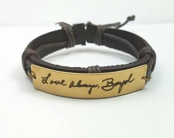 Memorial Bracelet, Actual Handwriting Bracelet, Memorial Gift, Personalized Leather Bracelet, Handmade Bracelet, Gift for Him