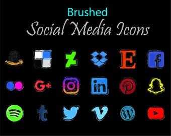 Brushed Social Media Icons