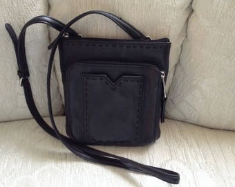 Perlina Black Pebble Leather Crossbody Shoulder Bag