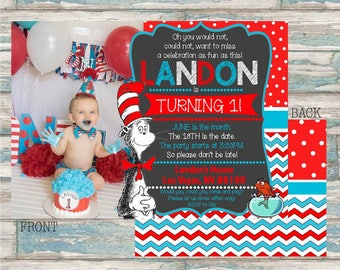 Dr. Seuss Birthday Invitation - Cat in the Hat Birthday - Dr. Seuss Printable Party Invite