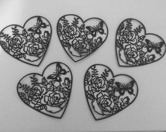 5 x large lace heart die cuts
