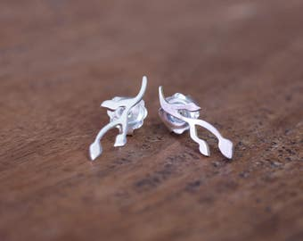 Sterling Silver Budding Twig Earrings