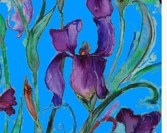 Anna Benham Wateririses Tuscan Blue Greeting Card, Packs of 5/10/50/100