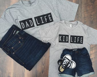 Dad Life Kid Life SET - Daddy and Me shirts - Father's Day Shirt - Dad shirt - gifts for him - dad gift - dads birthday gift - trendy dad