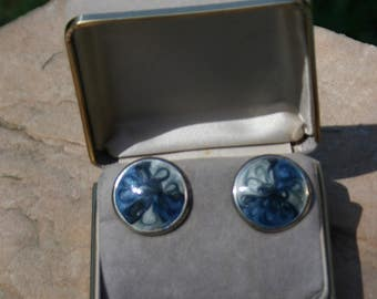 Vintage blue and silver colored enamel stud earrings