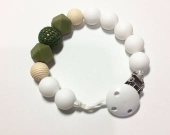 White, Khaki Green bpa free silicone Paci Clip