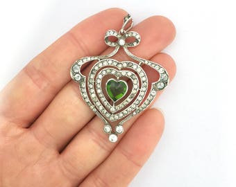 Antique Edwardian Silver and Paste Heart and Bow Pendant