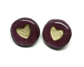 Heart of Gold Buttons, Set of 2, Burgundy and Gold Buttons, Crochet, Knitwear, Fibre Arts, Love