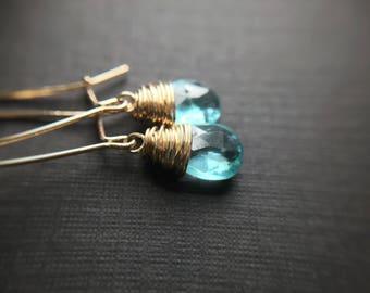 Dainty blue Apatite wrapped briolette earrings, blue & gold earrings, boho chic, minimalist earrings, small gemstone earrings