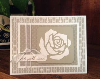 Handmade Get Well Soon Card - Rose, Ribbon, Taupe/Sand