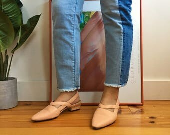 Vintage Pink Slingback Pointed Flats