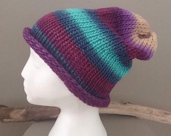 Fab Boho Hippy Hand-Knitted Slouchy Beanie
