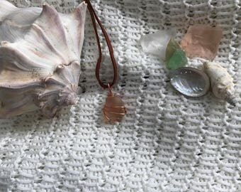 Peach Sea Glass Wrap Necklace