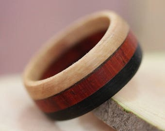 Olive, African Padauk, Ebony wood ring - wooden ring - all sizes