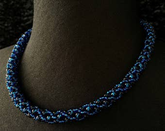 Necklace beads glass - Royal Blue