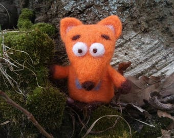 Felted woolen orange fox cute toy handmade gift for her gift for him