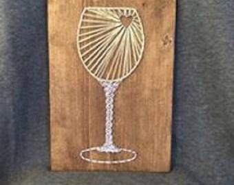 Glass of White String Art