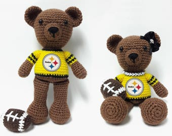 Crocheted Steelers Team Spirit Bear - Benjamin/Steelerette
