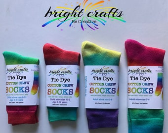 Rainbow Tie Dye Crew Socks bright beautiful colour stay bright after washing Kids + Adult sizes
