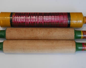 Wooden Rolling Pin with Beautiful Lacquer Finish on Handles.