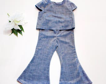 Chambray Bell Bottom Set - Toddler